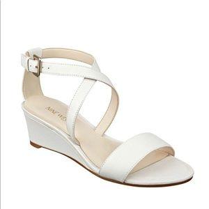 Nine West Lace Dress Ivory Leather Wedge Sandal